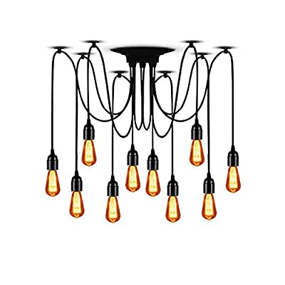 """T&A Spider Lamps Vintage Edison Style Adjustable DIY Ceiling Spider Pendant Lighting Rustic Chandelier(Each with 78.74""""/2M Wire)"""