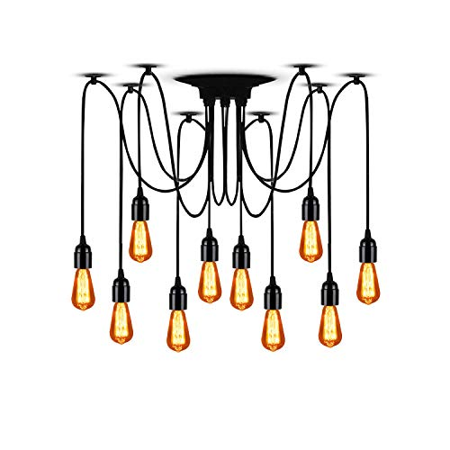 "T&A 10 Arms Spider Lamps Vintage Edison Style Adjustable DIY Ceiling Spider Pendant Lighting Rustic Chandelier(Each with 78.74""/2M Wire)"