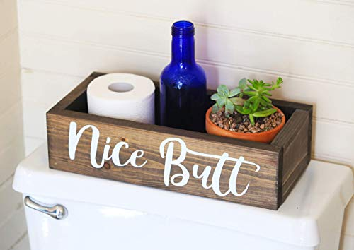 Nice Butt Bathroom Decor Box - Toilet Paper Holder - Farmhouse Rustic! (Bathroom Wooden Signs)