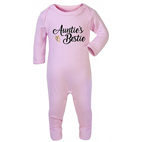 Aunties Bestie Baby Grow Vest - Aunt Aunty Best Friends Cute Christmas Gift Light Pink (6-12 Grow)