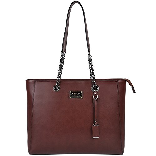ZYSUN Laptop Bag For Women,15.6 In spacious Laptop Tote Soft PU Leather Lightweight Multi-Compartment Work Tote With Comfortable Widen Straps (Sharp Notebook Computers)