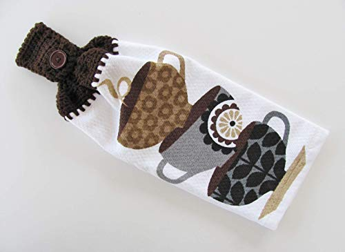 (Handmade Crocheted Brown Top Hanging Kitchen Towel, Coffee Cups Print)