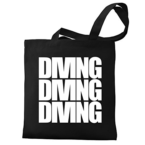 three Eddany Tote Canvas Canvas Bag Eddany Tote words words Diving three Diving 6wqpnxC0