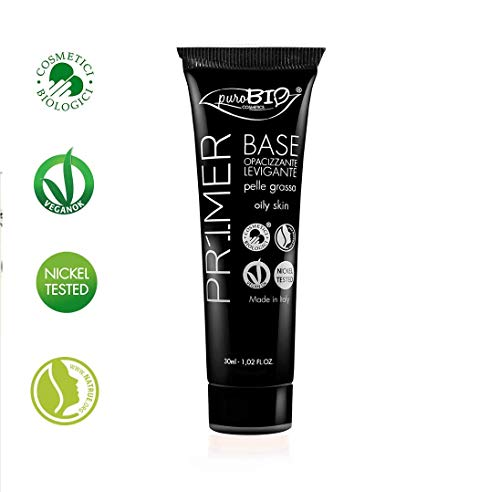 PuroBIO Certified Organic Long-Lasting Liquid Face Primer for Oily Skin with Anti-Aging properties. Contains Antioxidants, Silica, Jojoba Oil, Vitamin E. ORGANIC. VEGAN. NICKEL TESTED. MADE IN ITALY