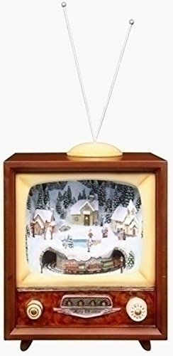 "16"" Amusements LED Lighted Animated and Musical Retro Christmas Television Set"