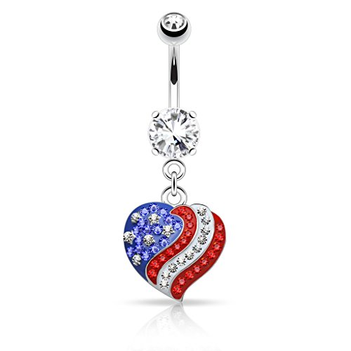 Flag Belly Ring - Pierced Owl Crystal Paved American Flag USA Heart Dangle Belly Button Navel Ring