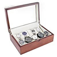 Vintage Wood Watch Case Display Storage Box With Glass Viewing Top Holds 10+ Watches Adjustable Soft Pillows and High Clearance for Larger Watches-Vintage Series II from Caddy Bay Collection