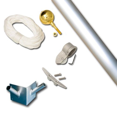 Franklin 10 Foot 1-1/2 Dia Double Corner Set Clear Finish Flagpole