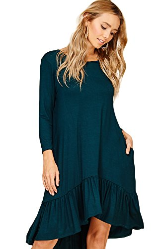 Annabelle Women's Curvy Sizes Solid 3/4 Sleeves Side Pockets Ruffle Skirt Tunic Dress Hunter Green X-Large D5292P