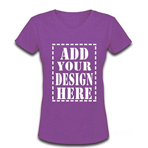 Ladies Trendy Add Your Custom Design Here V-Neck T shirts (M, Purple) - Custom Screen Printed T Shirts