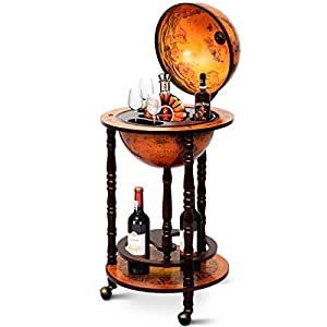 Goplus 17″ Wood Globe Wine Bar Stand 16th Century Italian Rack Liquor Bottle Shelf with Wheels