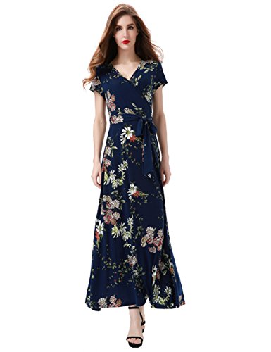85e4e8331 Aphratti Women's Bohemian Short Sleeve V Neck Faux Wrap Vintage Maxi Dress  Small Navy Floral