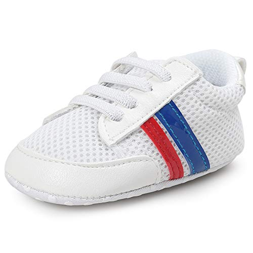 "BubbleColor Baby Boys Shoes Air Mesh Sneakers Toddler Infant Prewalker Anti-Slip Soft Role First Walking Baby Crib Shoes (S:0-6 Months/4.33"", White/Blue/Red)"