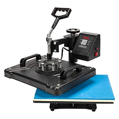 TUFFIOM 5 in 1 Combo Heat Press Machine, 12x15 Inch 360° Swing Away Multifunctional Digital Transfer Sublimation Print, for T-Shirt/Mug/Hat/Plate/Cap, 1250W Black