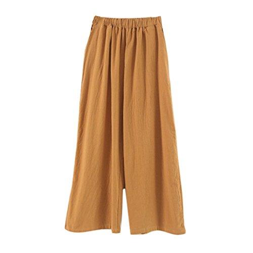 Elastique Leggings Solide Pantalons Pantalon Longueur Taille Confortable Bureau Jambe Large Femme OL Mode Couleur Lache Pantalons Cheville Jaune Casual OvC0q