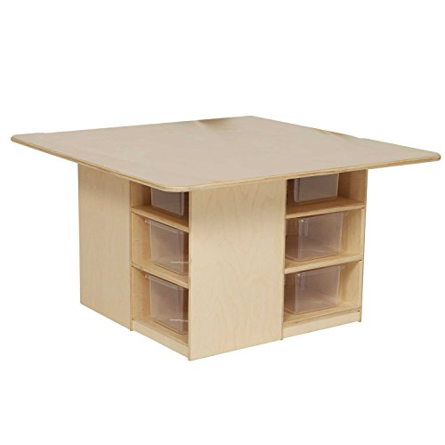 Wood Designs WD85001 Cubby Table with (12) Translucent Trays, 20 x 36 x 36