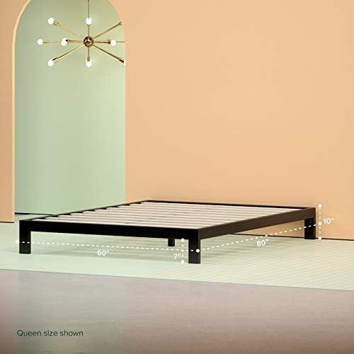 Zinus Arnav Modern Studio 10 Inch Platform 2000 Metal Bed Frame / Mattress Foundation / No Box Spring Needed / Wooden Slat Support / Good Design Award Winner, Queen 41EG1wO0cqL