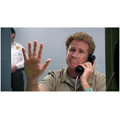 Get Hard (2015) 8 inch by 10 inch PHOTOGRAPH Will Farrell from Chest Up on Telephone Hand Pressed Against Glass - Celebrity 2015 Glasses