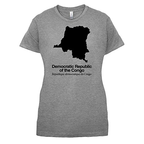 Democratic Republic of the Congo / Demokratische Republik Kongo Silhouette - Damen T-Shirt - Sportlich Grau - L