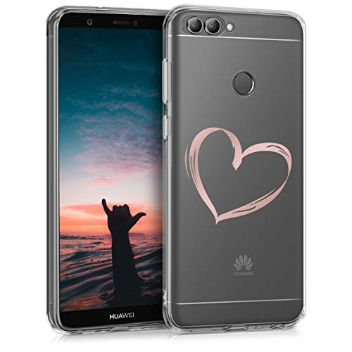 kwmobile Case for Huawei Enjoy 7S / P Smart - Clear TPU Soft Phone Cover - Bicolor Design, Transparent/Black