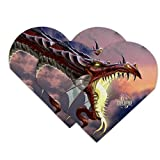 Fantasy Fire Breathing Dragon Flame On Heart Faux Leather Bookmark - Set of 2