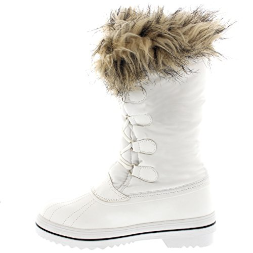 Winter POLAR Snow Nylon Waterproof Trim Outdoor White Rain Womens Duck Tall Warm Boots XaaxrzAn