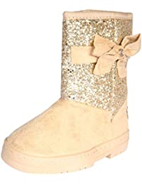 Girls Winter Boots with Rhinestone Embellished Logo & Bow (Toddler/Little Kid/Big Kid)