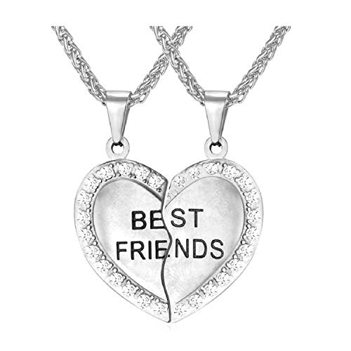 U7 Stainless Steel Heart Rhinestone Best Friends Engraved Friendship Necklace BFF Couple Pendant - Set of 2