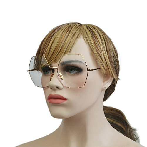 MINCL/Oversized Metal Geometric Pentagon Gradient Color Lens Hippie Sunglasses -yhl (gold-clear, - Geometric Pentagon