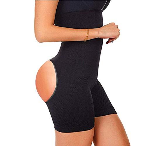 Finlin Womens Shapewear Tummy Control Seamless High Waist Butt Lifter Power Shorts (Black(Bare Hips), XS/S)