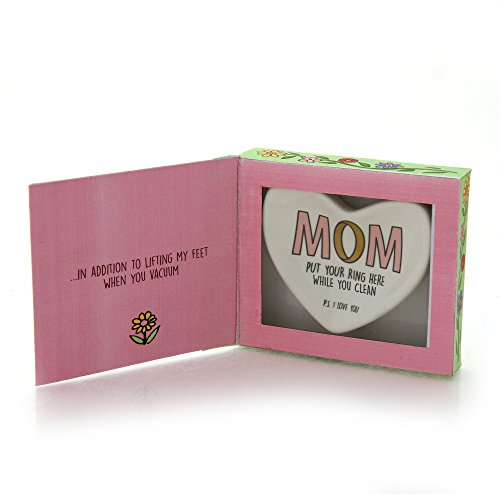 """Our Name is Mud """"Mom's Ring"""" Stoneware Heart Trinket Dish, 4.1 (Enesco Trinket)"""