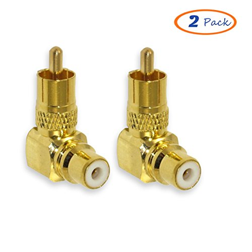 Besmelody 2-Pack Premium RCA Male to Female Plug Adapters M/F Gold-Plated Metal Connector 90 Degree Right (Subwoofer Security Console)