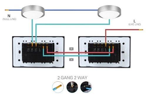 NIMTEK US/AU Standard, 2-gang 2-way, VL-C302S-82, Touch Screen Light Switch with LED indicator, Black Crystal Glass Panel by NIMTEK (Image #4)