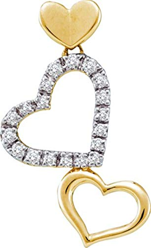 Gold Diamond Pendant Name 14kt - Aienid 14Kt Yellow Gold 0.21ct Diamond Heart Pendant Necklace For Ladies