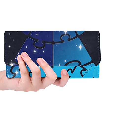 Style Custom Card Folio - Unique Custom Puzzle Puzzle Piece Galaxy Continents Country Women Trifold Wallet Long Purse Credit Card Holder Case Handbag