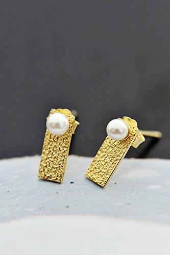 KENHOI Beauty s925 sterling silver women gift 18k gold plated rectangle earrings earings dangler eardrop small pearl mini women girls students
