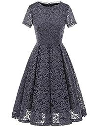 Women's Bridesmaid Vintage Tea Dress Floral Lace Cocktail...
