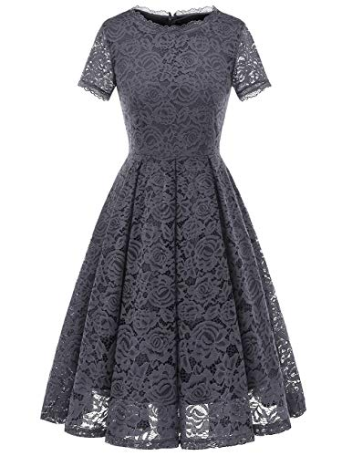 DRESSTELLS Women's Homecoming Vintage Tea Dress Floral Lace Cocktail Formal Swing Dress Grey 3XL (Dresses Formal Homecoming)