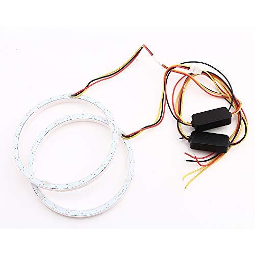 Qasim 1-Pair 120MM White+Amber Switchback 144SMD 4014 LED Halo Ring Angel Eyes Fog Warning Lights 12V