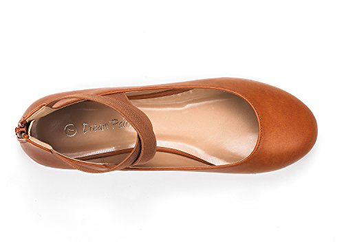 Elastic Ankle Flats Women's Pu Straps Sole Tan Fashion Stretchy DREAM PAIRS Shoes SRxngg