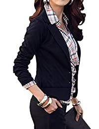 Sevozimda Women Elegant Suit Collar Solid One Button Slim OL Office Blazer Outcoat