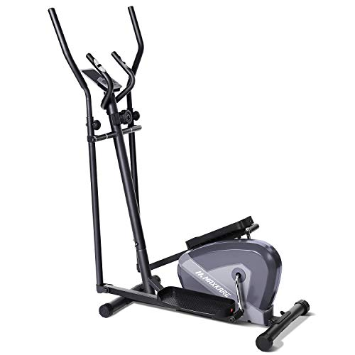 MaxKare Exercise Bike Elliptical Trainers-Portable Upright Fitness Workout Bike Machine,8-Level Magnetic Resistance,LCD Monitor,Heart Rate Monitor,Quiet Driven,Calories Burned
