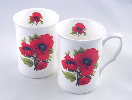 (Fine Bone China Mugs - Set of Two - Autumn Poppy Chintz - Adderley of England)