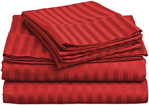 - Lux Decor Collection Bed Sheet Set - Brushed Microfiber 1800 Bedding - Wrinkle, Stain and Fade Resistant - Hypoallergenic - 4 Piece (Queen, Striped Burgundy)