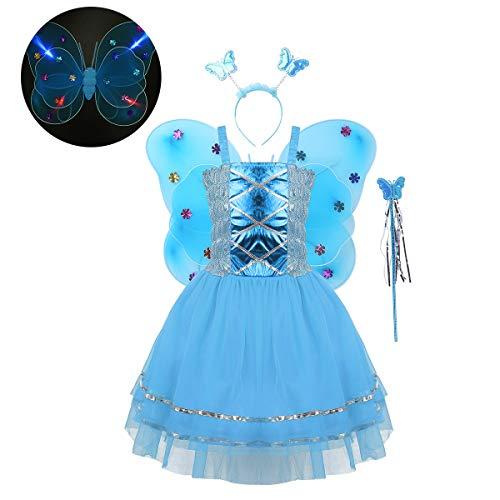 ranrann Kids Girls Light Fairy Dress Up Halloween Little Angel Costume Mesh Tutu Dress LED Flashing Wings 4PCS Blue -