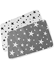 LFZY 2pcs Baby Changing Mat, Portable Baby Change Pad, Washable Cotton Diaper Mat Waterproof Sheet Foldable Nappy Newborn & Infant Liner Bed Pads, Reusable Sheet Bed Pads - 50 * 70cm