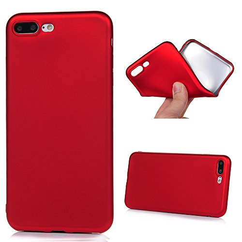 "KASOS iPhone 7 Plus Case Cool Metal Spray Paint Design Bumper Case Scratch-Resistant Gel Silicone Soft TPU Case Slim Fit Shock Absorption Cellphone Protection Cover for iPhone 7 Plus (5.5"") - Red"