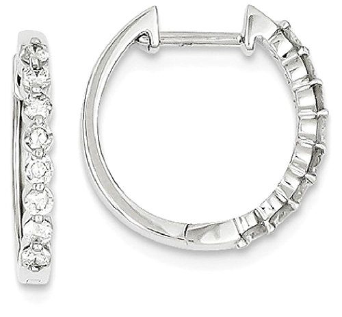 ICE CARATS 14k White Gold Diamond Hinged Hoop Earrings
