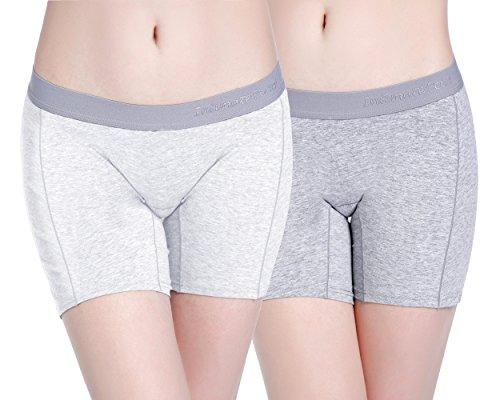Intimate Portal Under the Bump No Chafing Maternity Shorts Pregnancy Underwear 2-pk Gray White XL