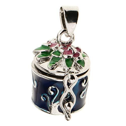 Memorial Urn Pendant Ash Keepsake Enamel Color Flower Engraving Memorial Box Necklace Jewelry Crafting Key Chain Bracelet Pendants Accessories Best| Color - Blue